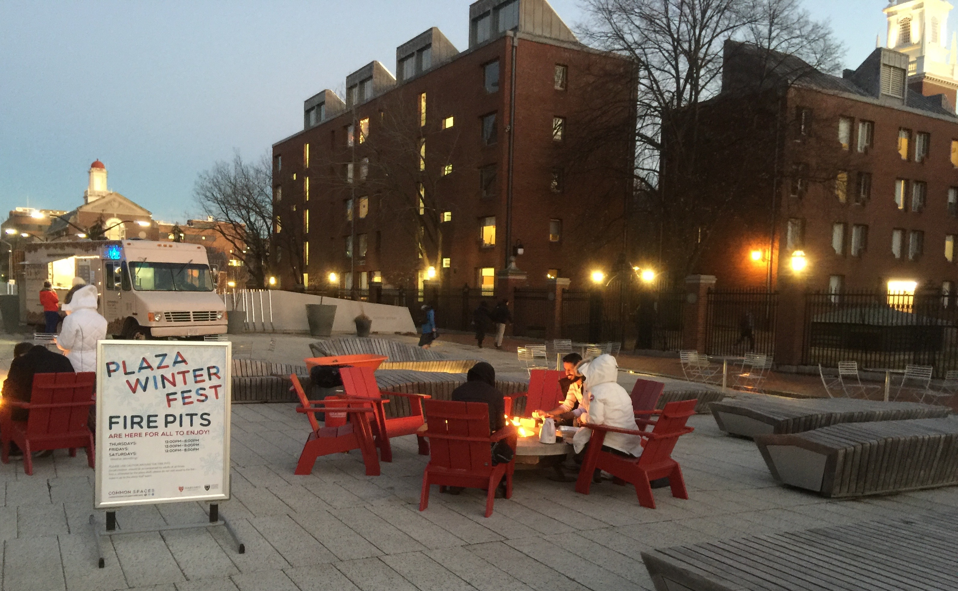 Winter Fire Pits on the Harvard Campus